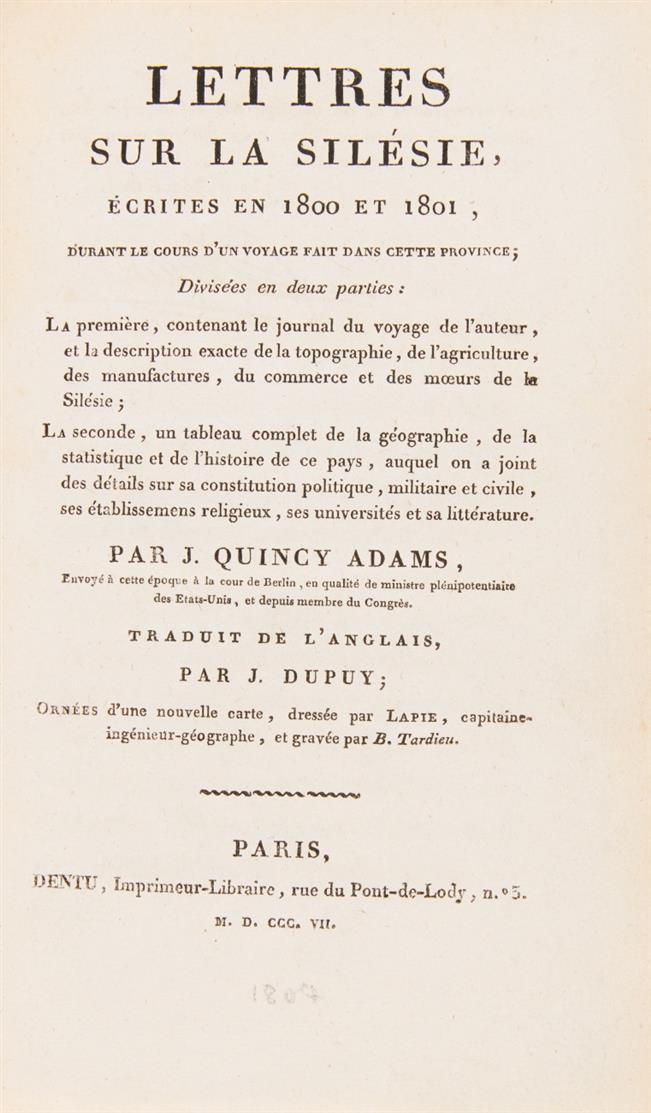 Q. Adams, Lettres sur la Silésie, écrites en 1800 et 1801 ... Paris 1807.