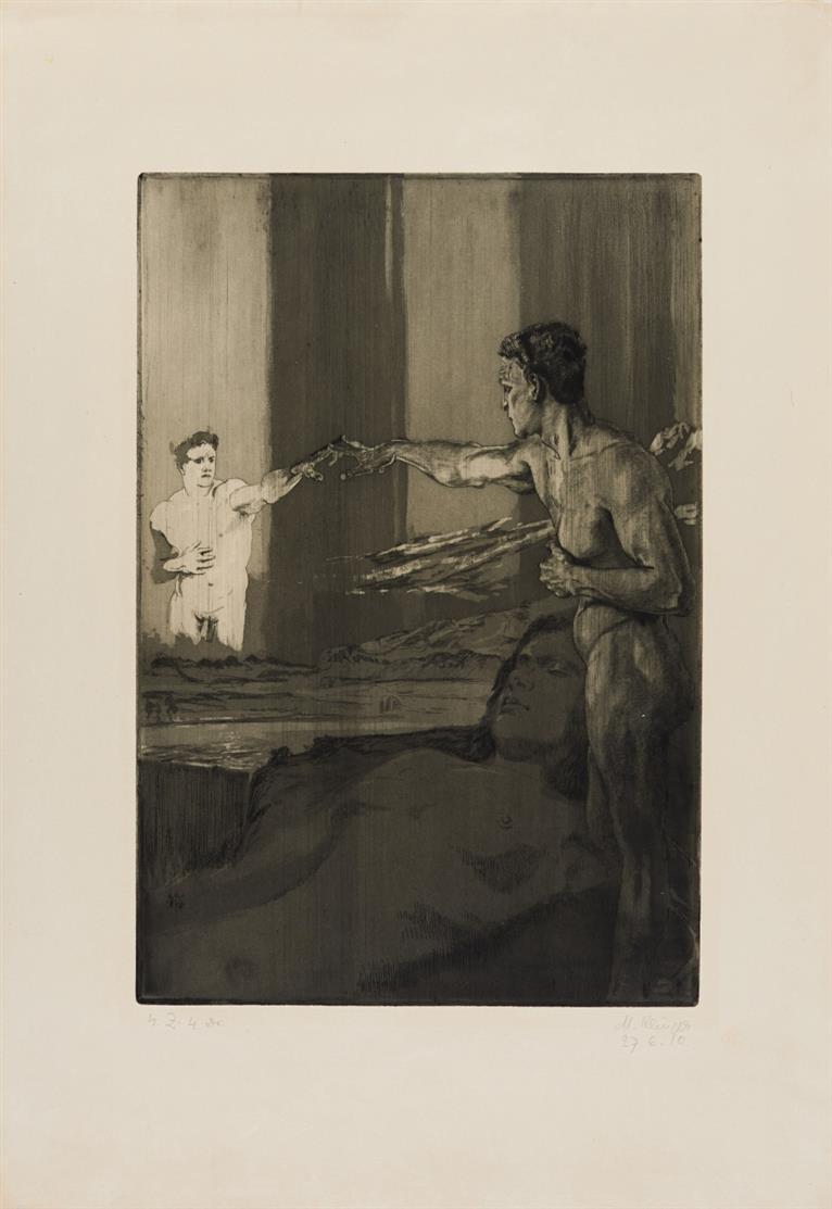 Max Klinger. Philosoph. 1910. Aquatintaradierung. Signiert. Zustandsdruck