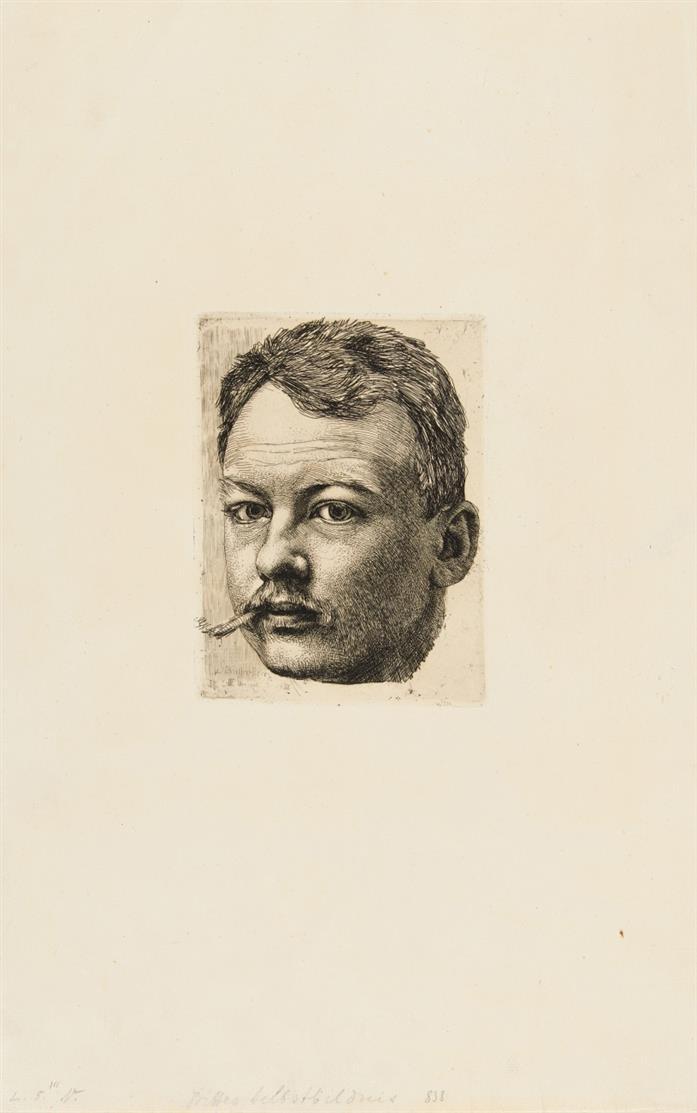 Karl Stauffer-Bern. Selbstb. / Bild. d. Schwester / Bild. Ludwig Kühn. 3 Bll. Radierungen.