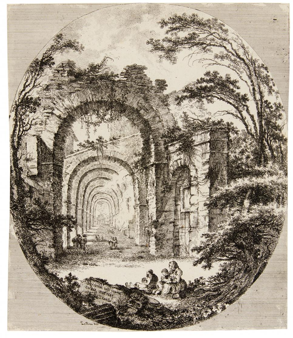 Richard de Saint-Non. Römische antike Ruinen (im Oval). (1756). 3 Bll. Radierungen.