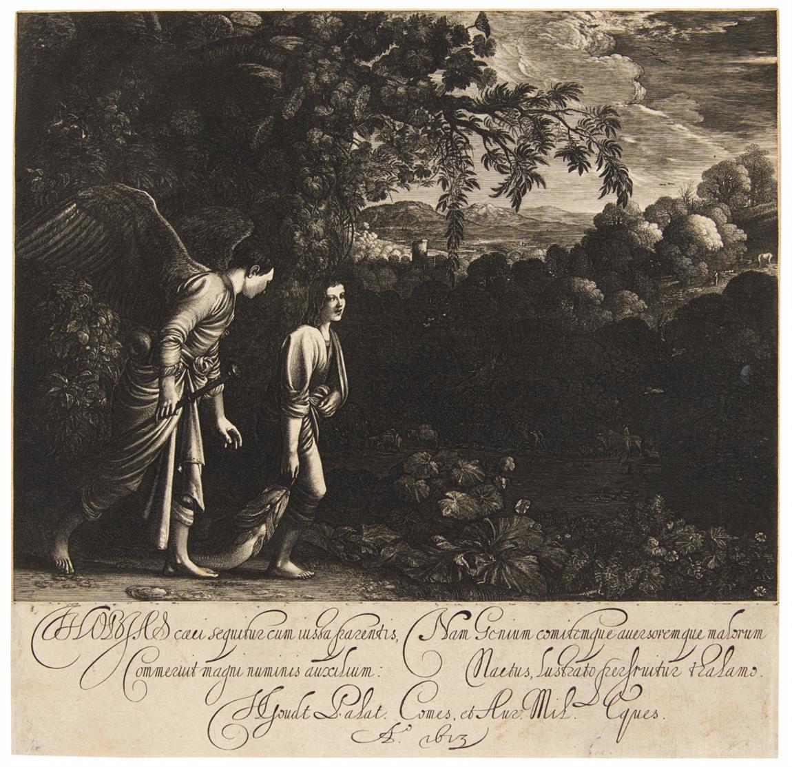 """Hendrik Goudt nach A. Elsheimer. Die Wanderung des Tobias (""""Der große Tobias""""). 1613. Kupferstich. Hollstein 2."""