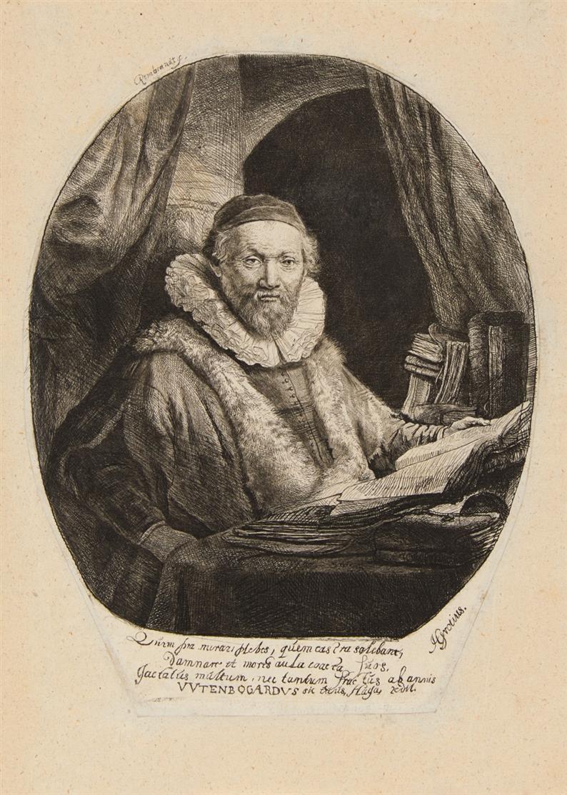Rembrandt. Jan Uytenbogaert, 1635. Radierung. NH 153 VIII (von IX).