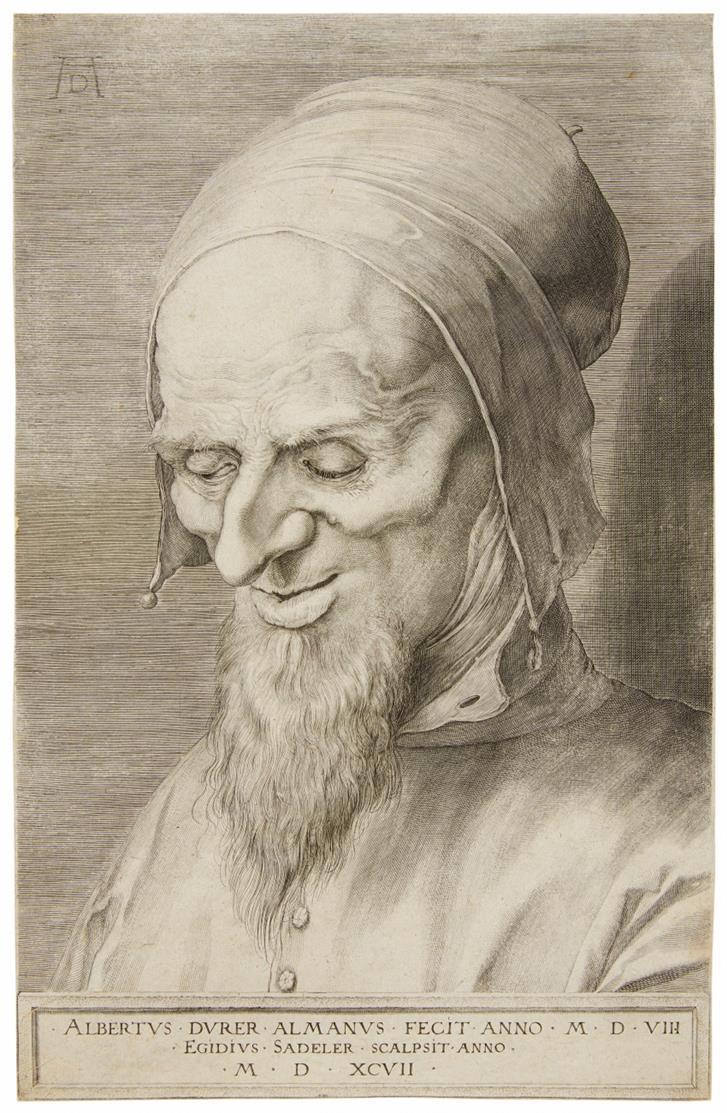 Ägidius Sadeler nach Albrecht Dürer. Apostelkopf mit Bart und Kappe. Kupferstich. H. 87.