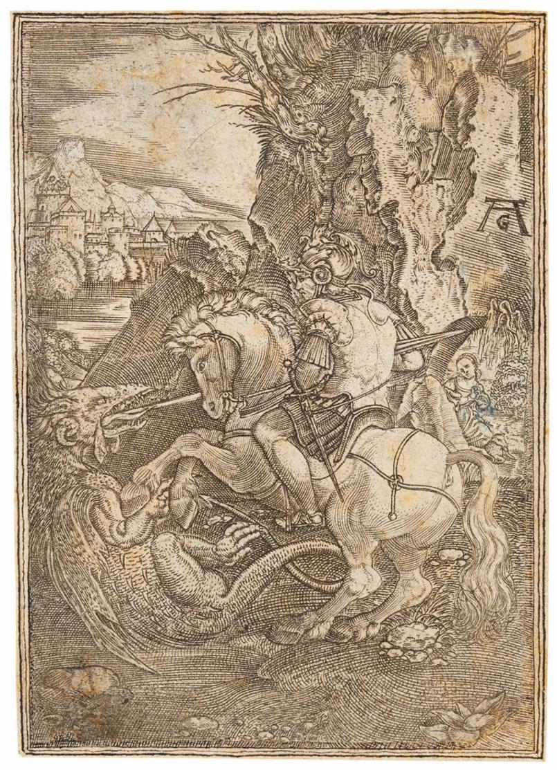 Monogrammist AG (Anton Göttich?). Hl. Georg mit dem Drachen. Kupferstich.