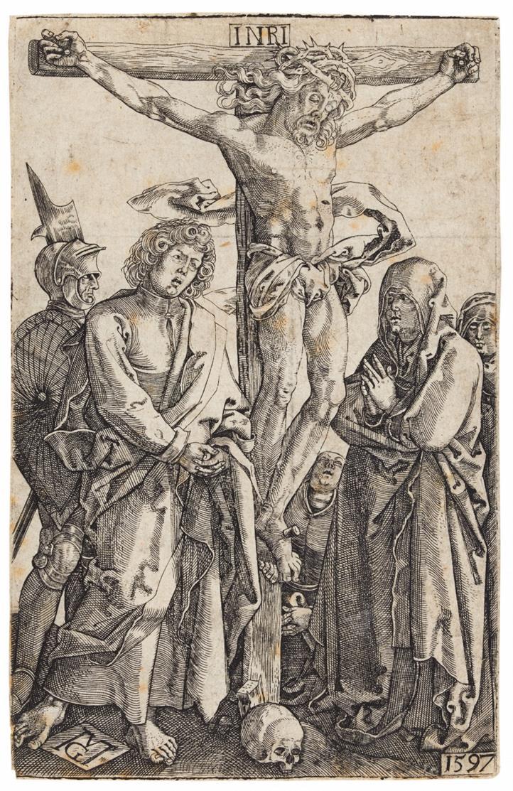 Monogrammist MG (M. Göttich). Christus am Kreuz (gegens. n. Dürer).1597. Kupferstich.