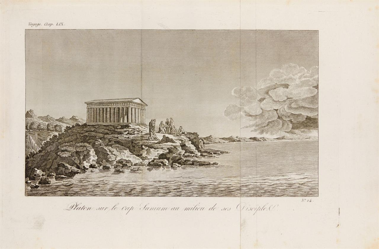 J. J. Barthelemy, Voyage d'Anacharsis. 7 Textbde. u. Atlas in 8 Bden. Paris 1819-1822.