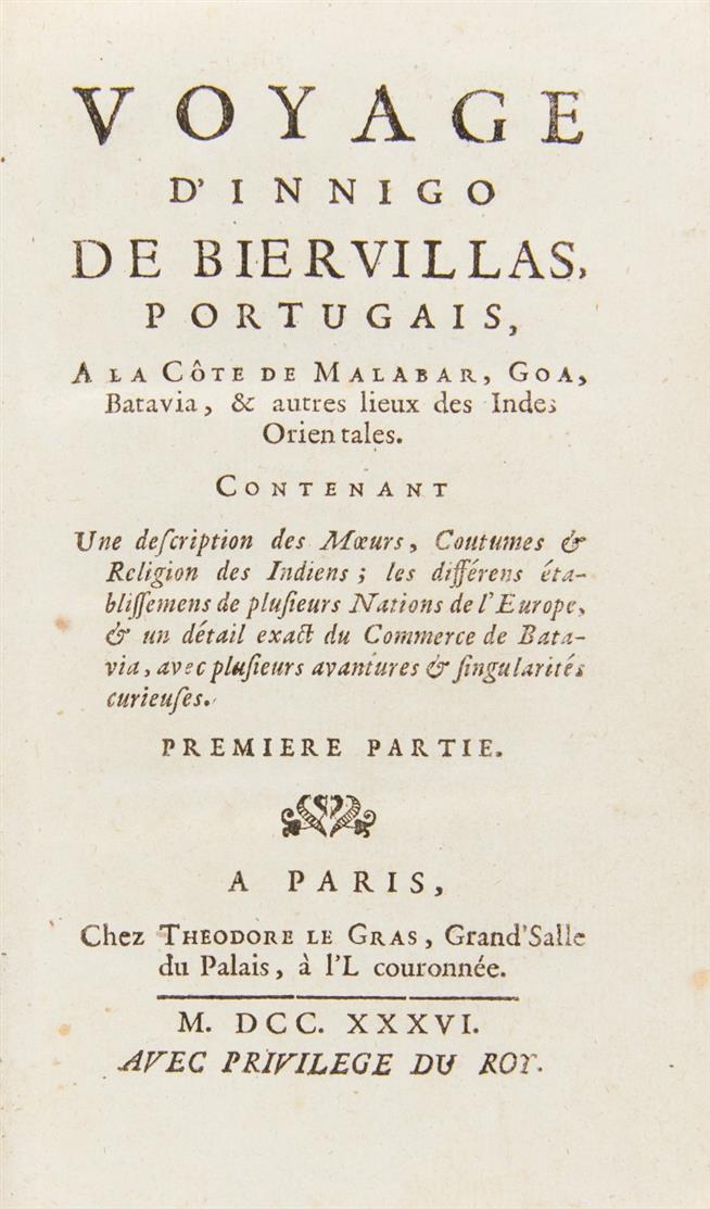 I. de Biervillas, Voyage à la Côte de Malabar ... 2 in 1 Bd. Paris 1736.