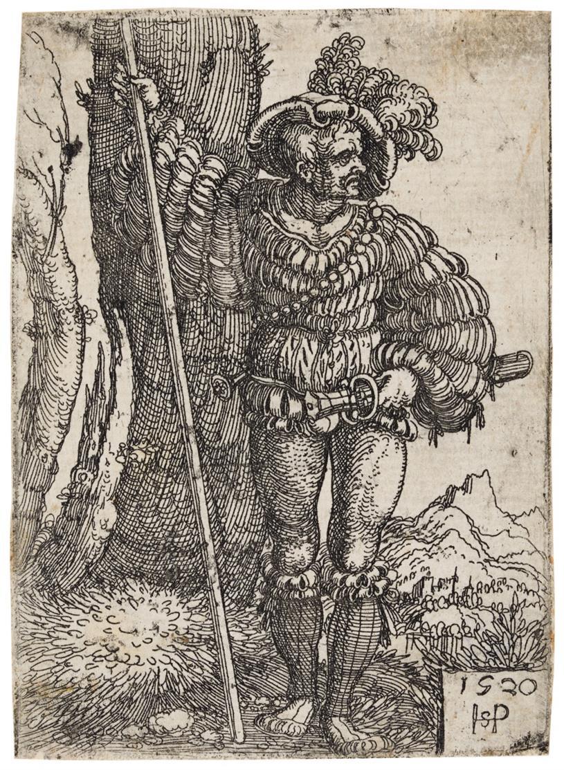 Hans Sebald Beham. Landsknecht, neben einem Baum stehend. 1520. Radierung. B 203.