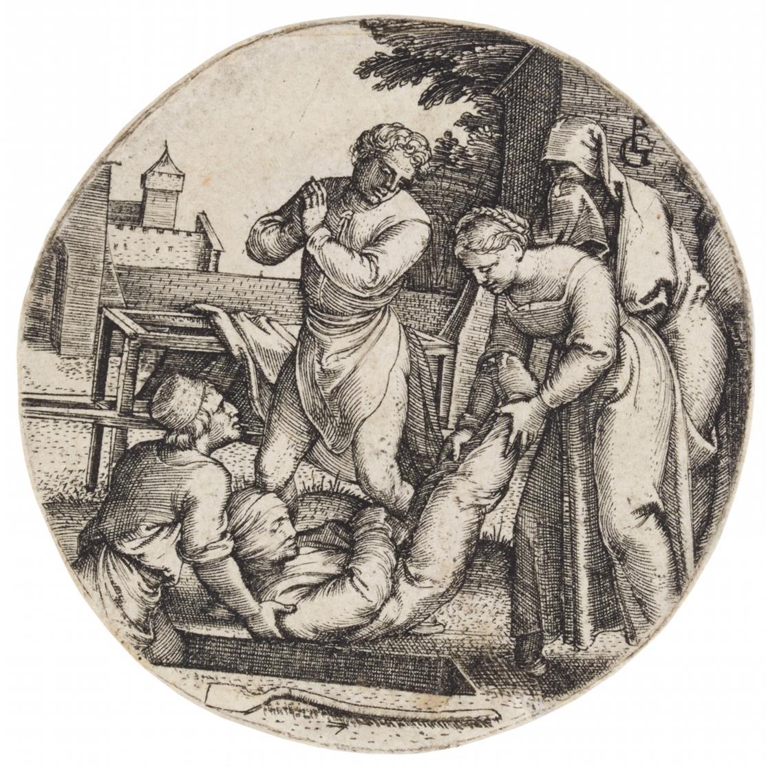 Georg Pencz. Die Nackten bekleiden / Tote begraben. 2 Blatt Kupferstiche.