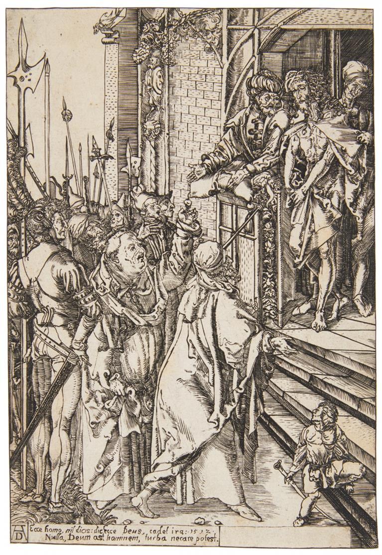 Anonym nach Monogrammist AV nach A. Dürer. Ecce Homo. 1592 (1512). Eisenradierung.
