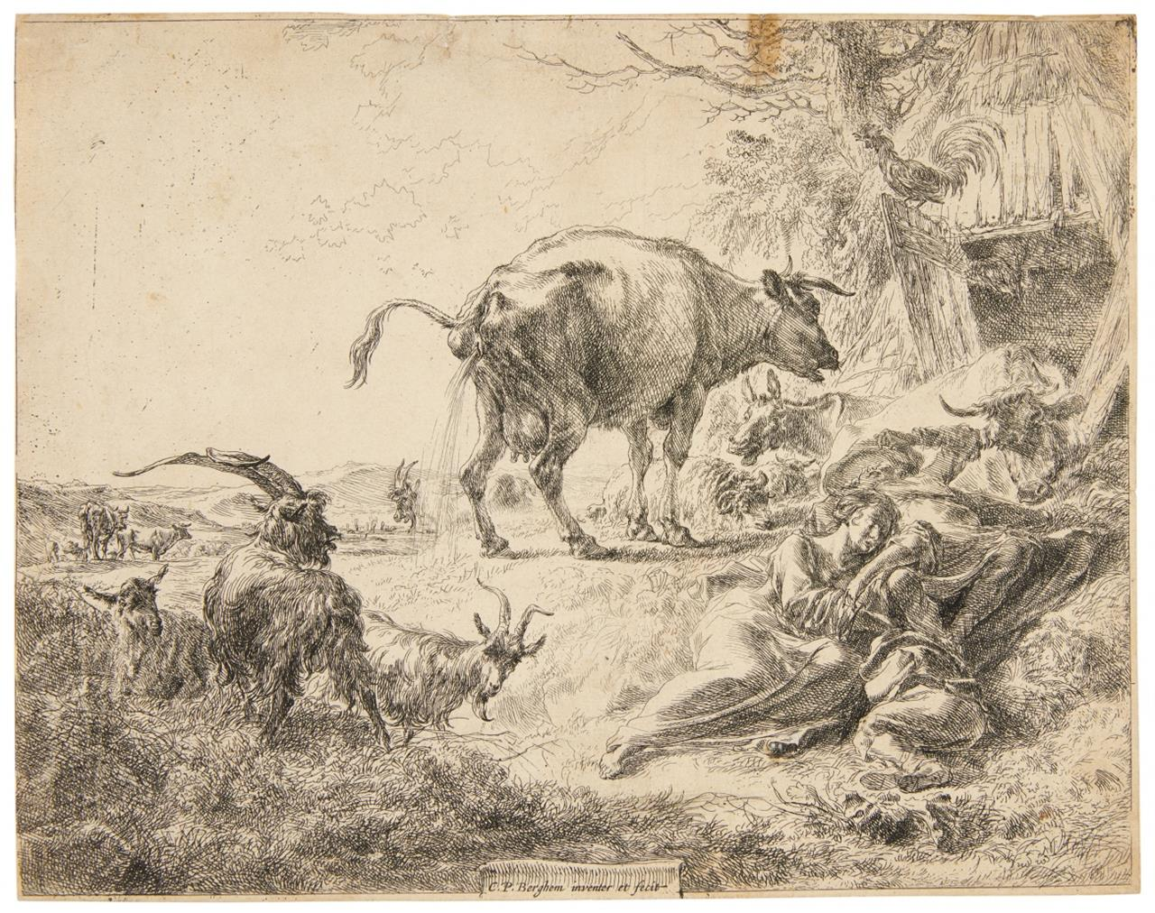 Nicolaes Berchem. Die pissende Kuh. Radierung. H. 2 II.