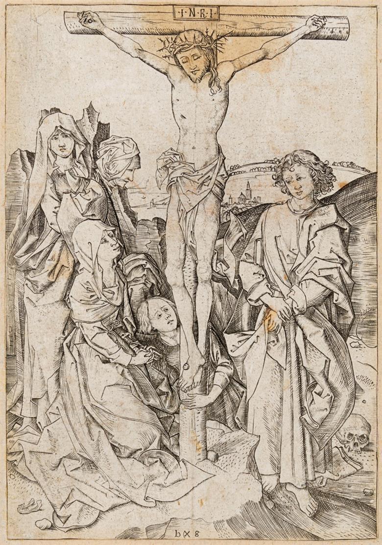Monogrammist BS (Barthel Schön), nach. Christus am Kreuz. Kupferstich. / Paar.