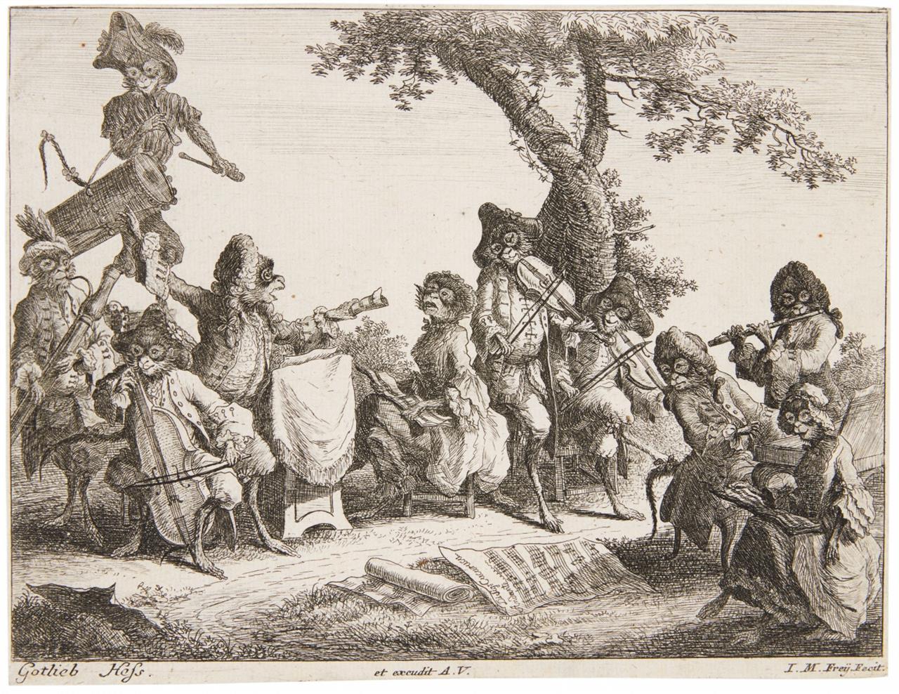 Johann Michael Frey nach Gottlieb Heß. Das Affenkonzert. Radierung