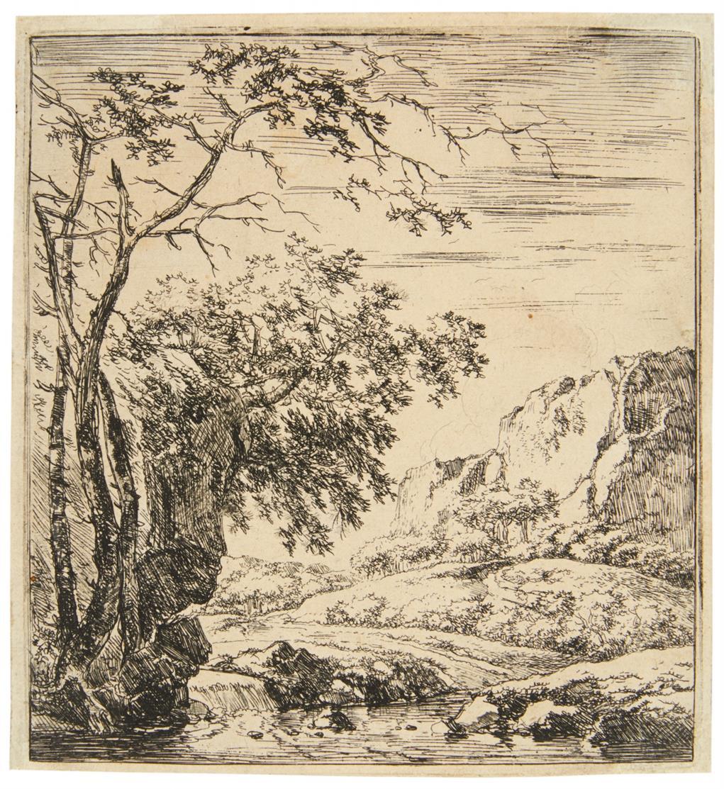 Harman Naywincx. Bäume am Fuß eines Felsens. Radierung. H. 16.