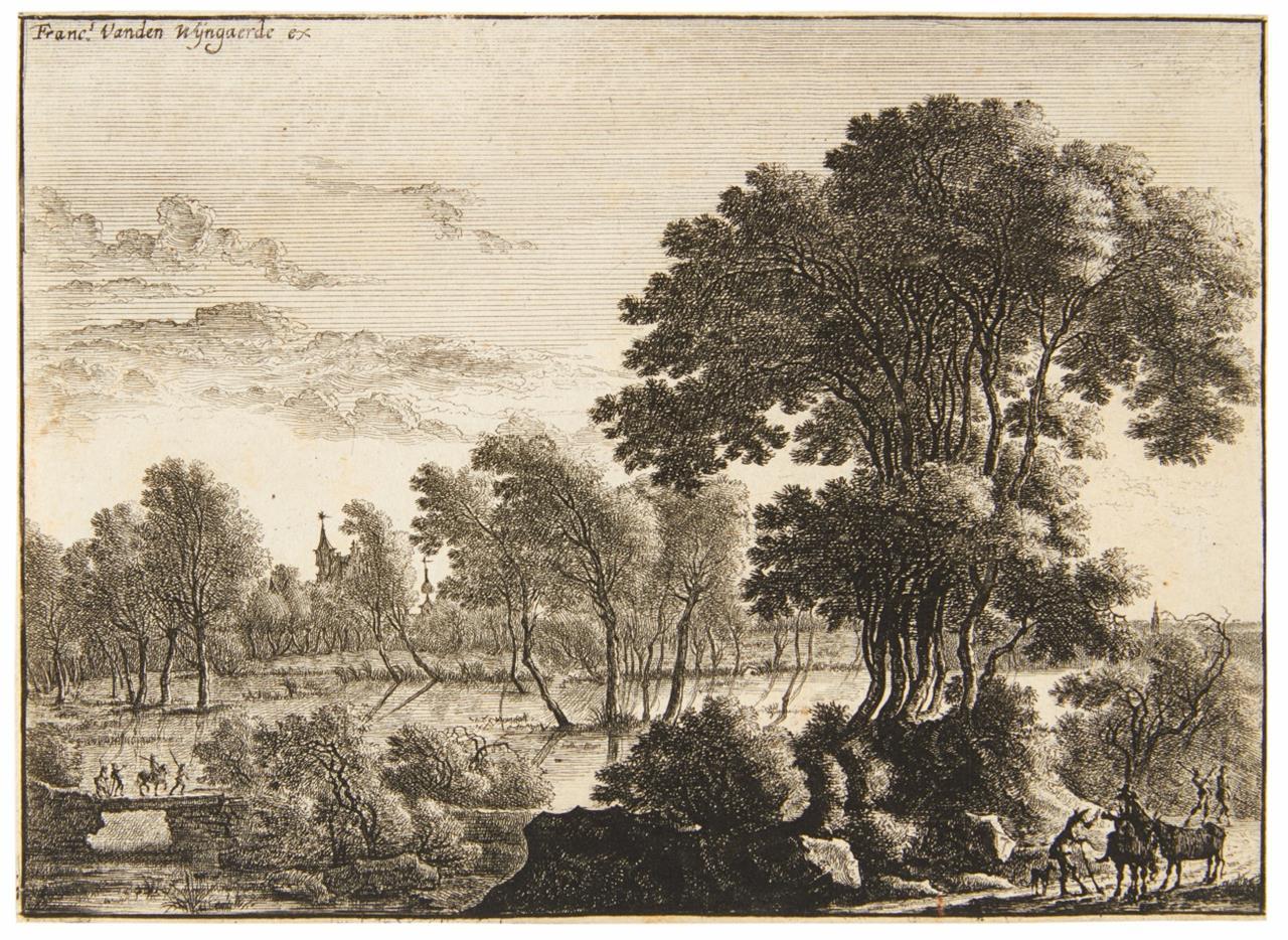 Gillis Aegidius Neyts. Landschaft mit dem Reitknecht. Radierung.