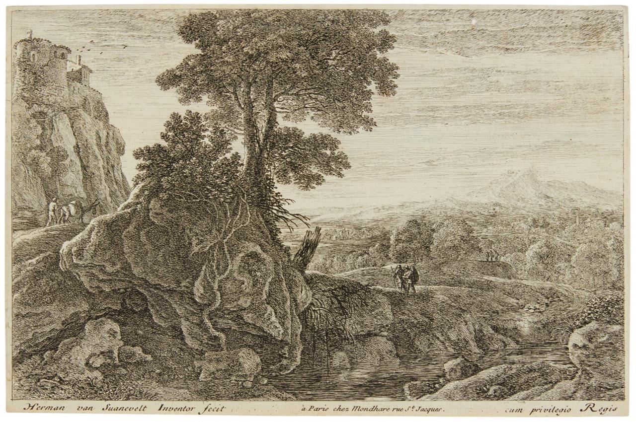 Hermann van Swanevelt. Das Haus auf dem Felsen. Radierung. H. 98 IV (v. V).