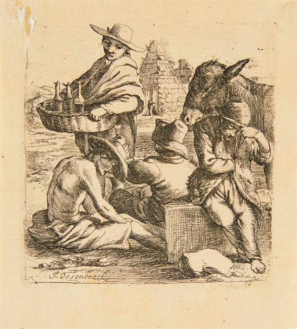 Jan Ossenbeeck. Wacholderschnapsverkäufer und drei Bettler. Radierung.