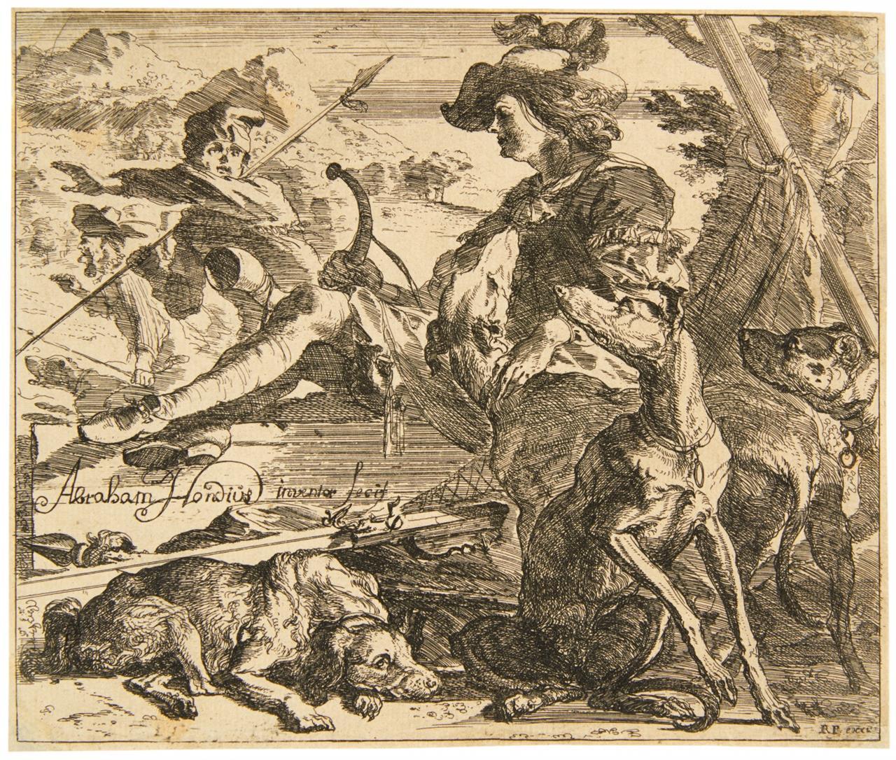Abraham Hondius. Titel zu Verschiedene Tiere. 1672.  Radierung. H. 1 II.