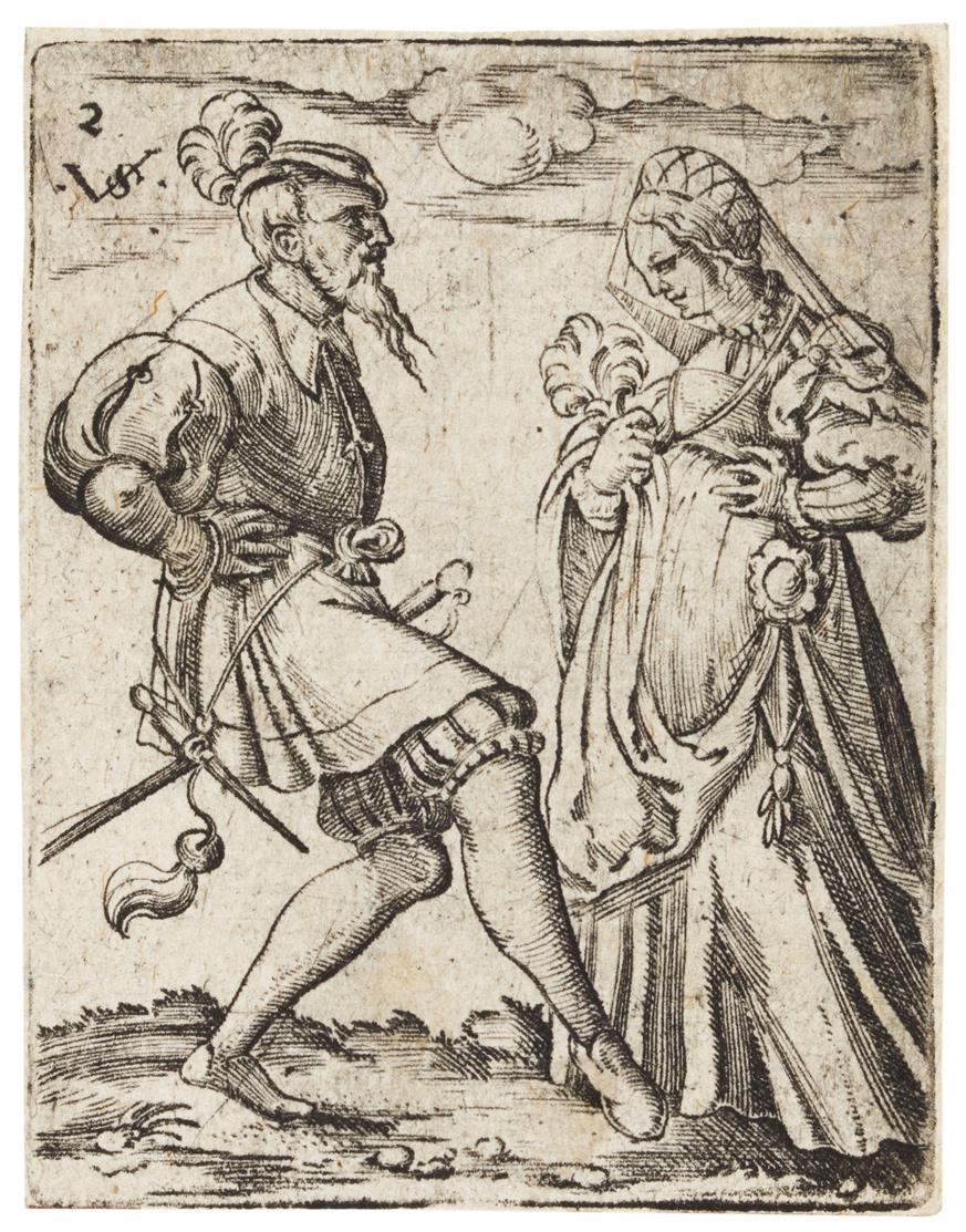 Virgil Solis. Bärtiger Mann mit einer verschleierten Frau tanzend. Kupferstich. H. 174.