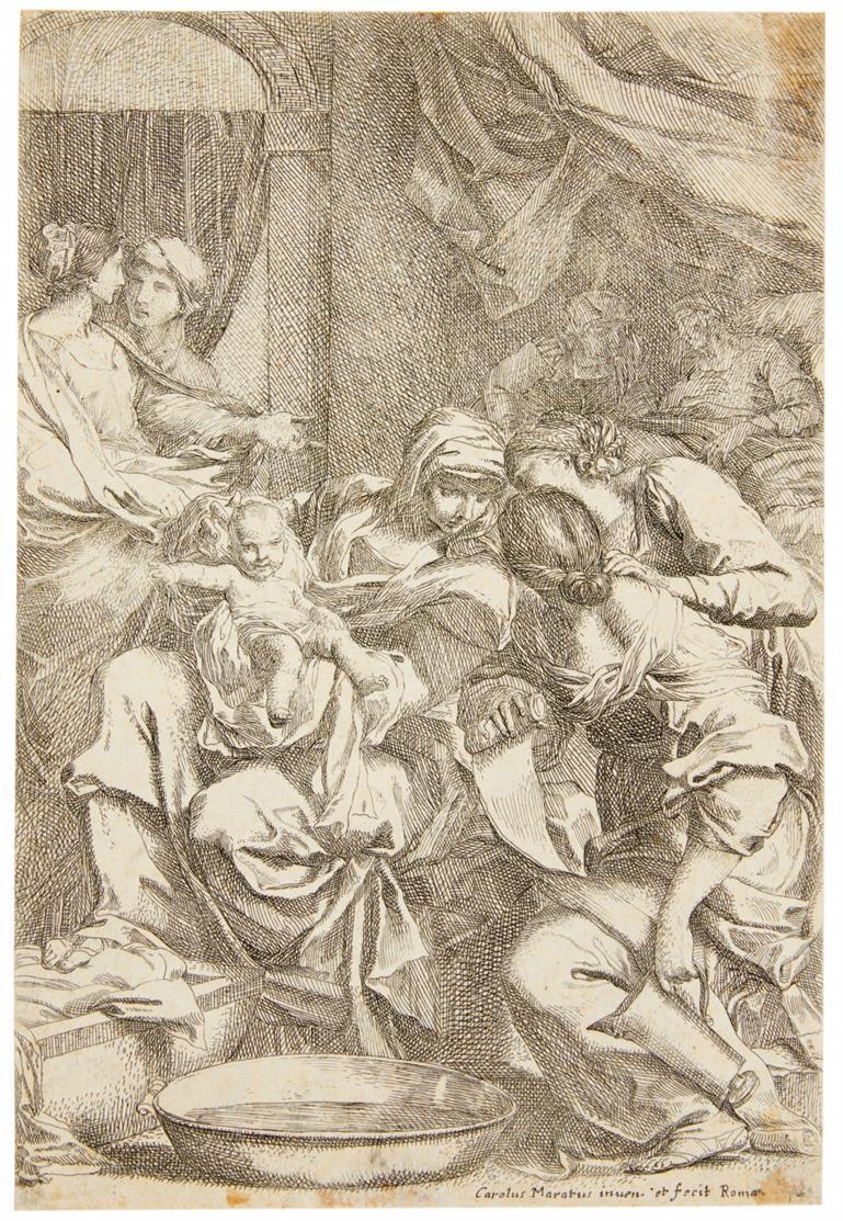 Carlo Maratta. Geburt Mariens. Radierung. B.ill. 1 II / dazu: Gleichseitige Kopie.