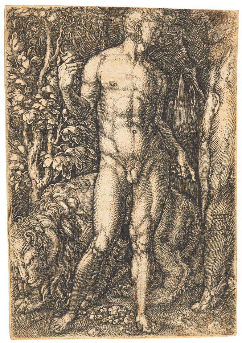 Heinrich Aldegrever. Adam mit Löwen / Eva mit Hirsch. 2 Kupferstiche. NH 11 u. 12.
