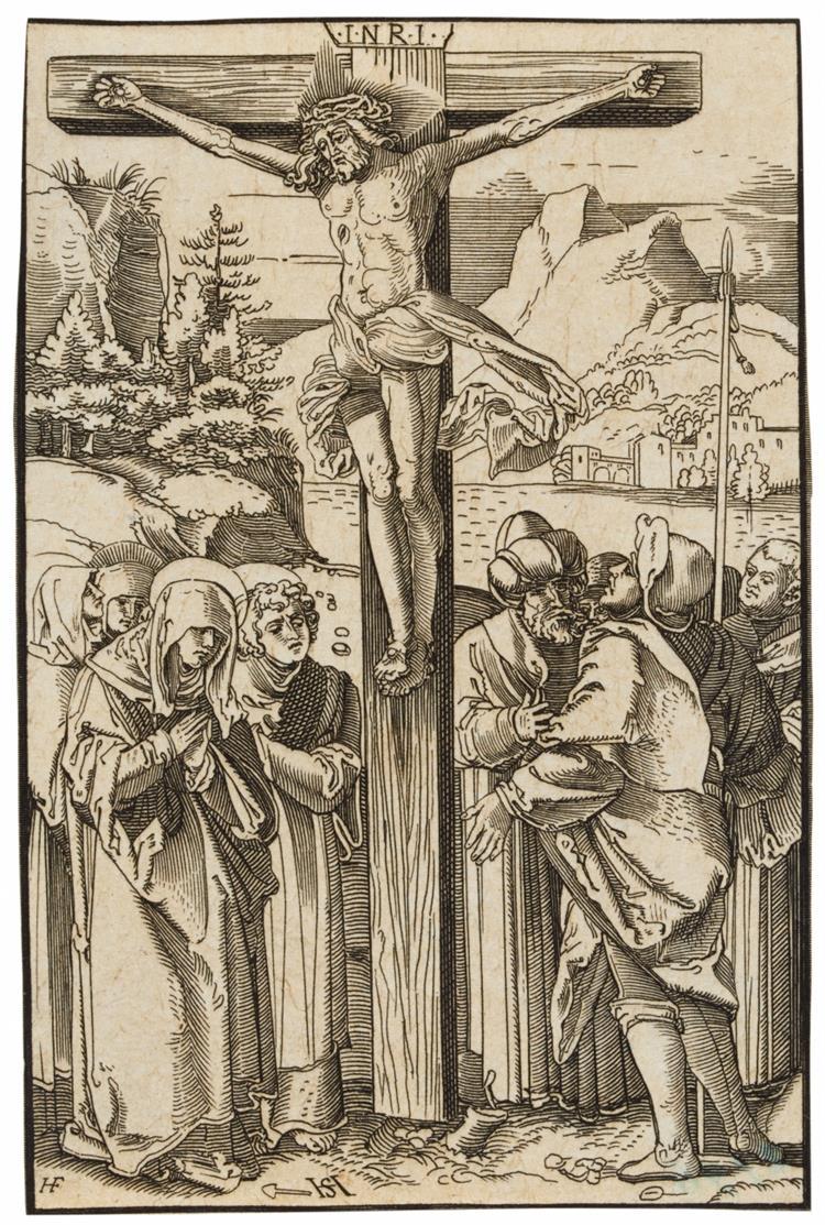 Monogrammist HF nach Hans Schäufelein. Christus am Kreuz. Kupferstich.