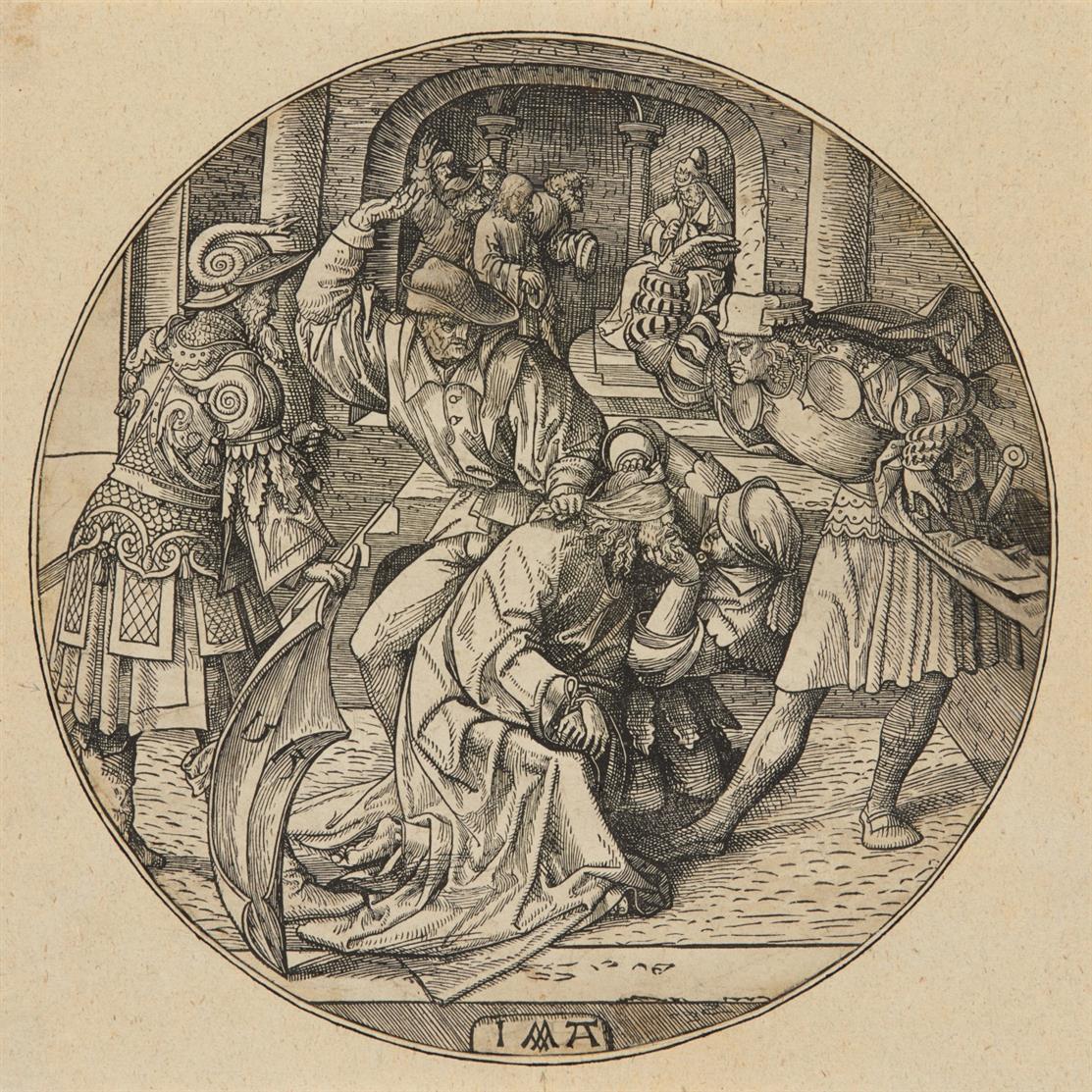 Jacob Cornelisz van Oostsanen. Christus im Prätorium geschlagen. 1513. Holzschnitt im Rund. H. 71.