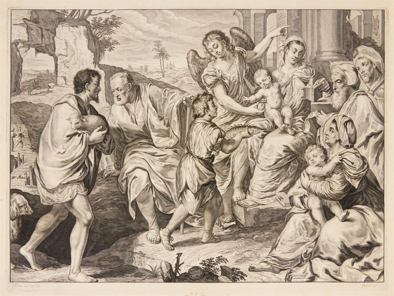 Jeremias Falck n. Palma Vecchio. Die Anbetung der Hirten. Kupferst. H. 7 (vor d. Schrift).