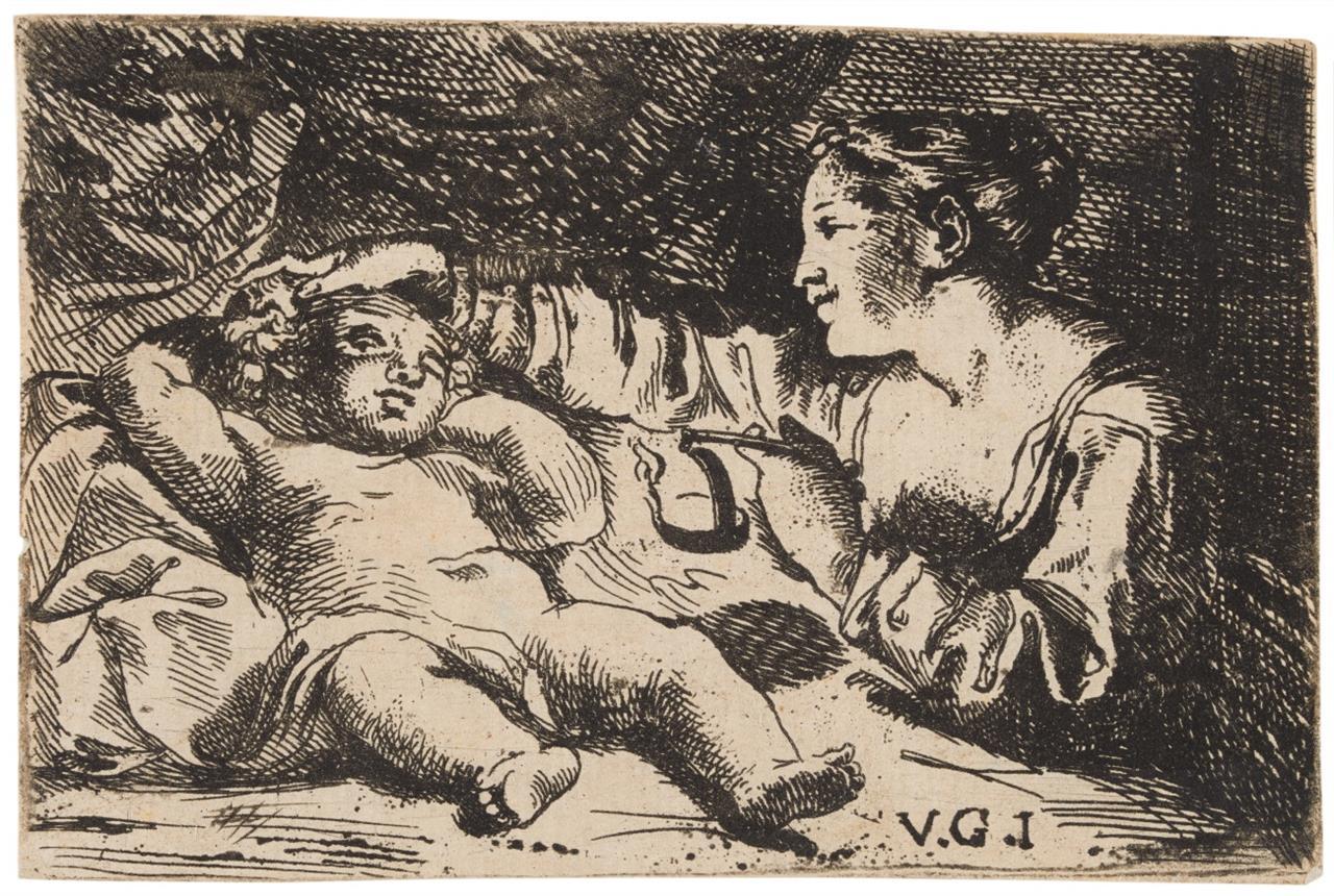 Monogrammist V.G.I. Nacktes Kind und Frau (Amor und Psyche?). Radierung.