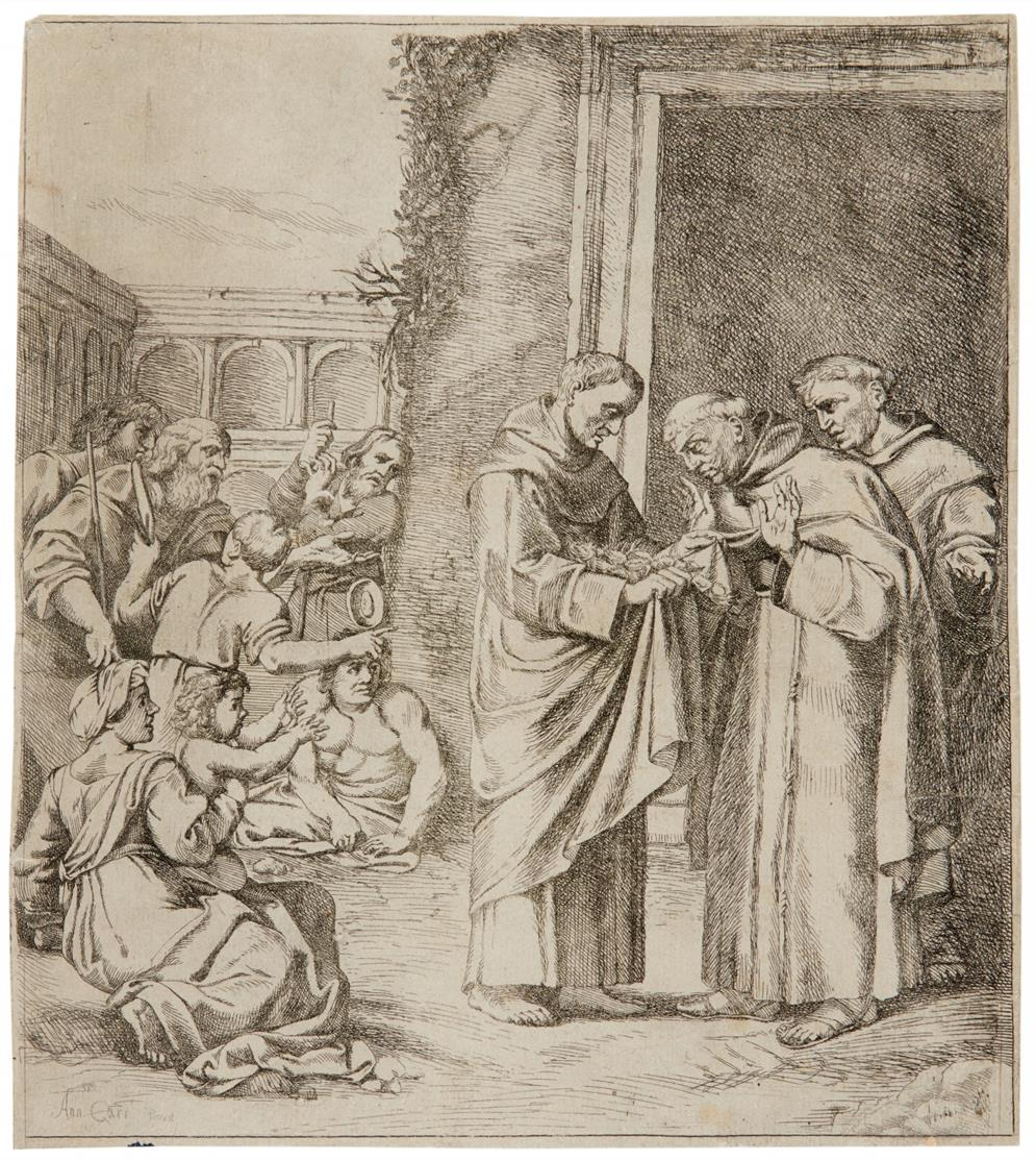 Giovanni Andrea Podestà. Das Rosenwunder des Heiligen Didacus v. Alcala. Kupferstich.
