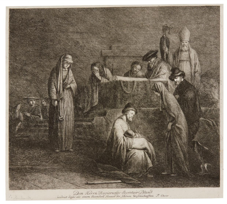 Adam Friedrich Oeser nach Rembrandt. Die Darstellung im Tempel. Radierung.