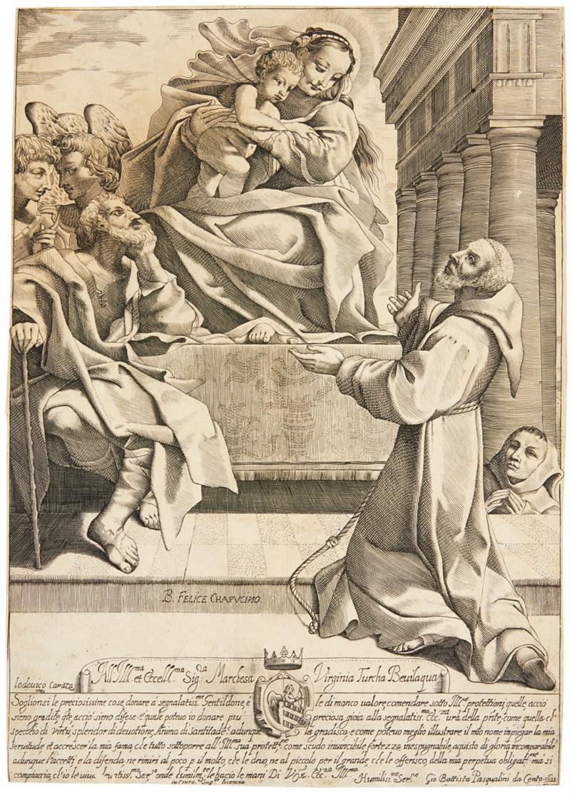 Giovanni Battista Pasqualini. Hl. Felix der Kapuziner und andere Heilige. Kupferstich.