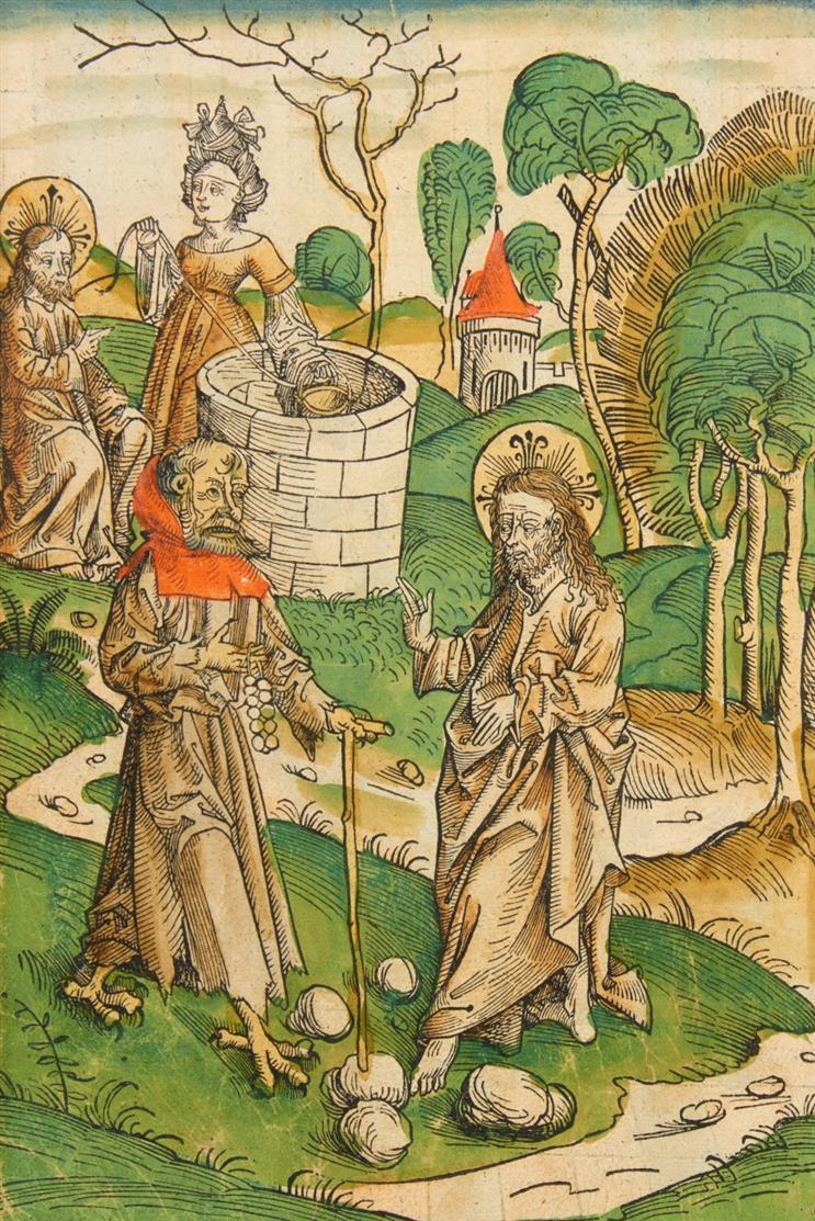 Versuchung Christi. Kolor. Holzschnitt von M. Wolgemut, aus Schatzbehalter, 1491.