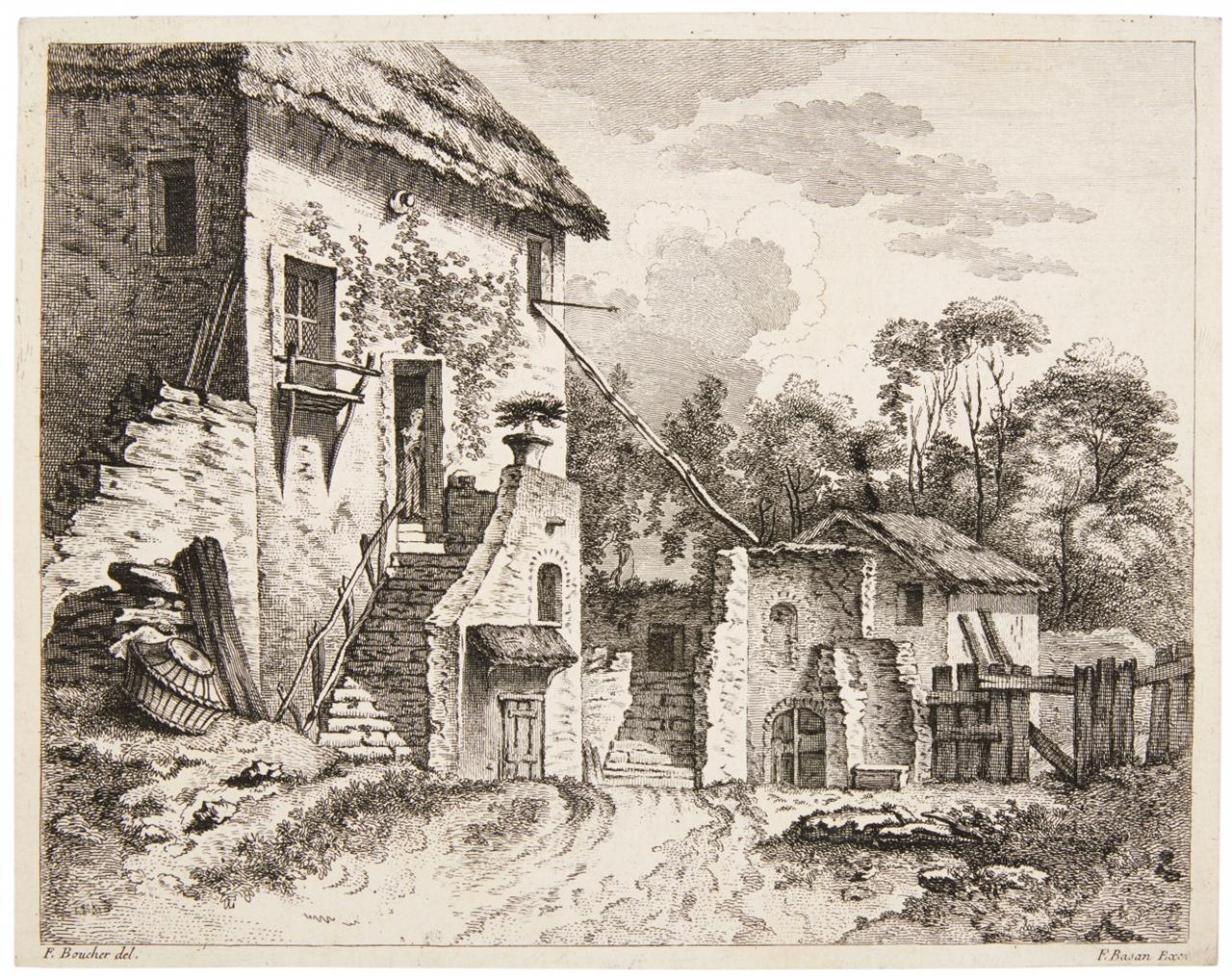 F. Basan n. Boucher / J.J.de Boissieu n. Ruisdael. Ländliches Anwesen. 2 Radierungen.