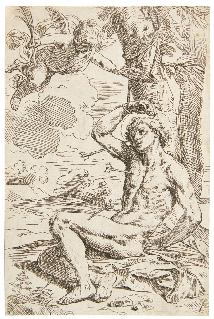 Simone Cantarini. Hl. Sebastian. Kupferstich. B. 24.