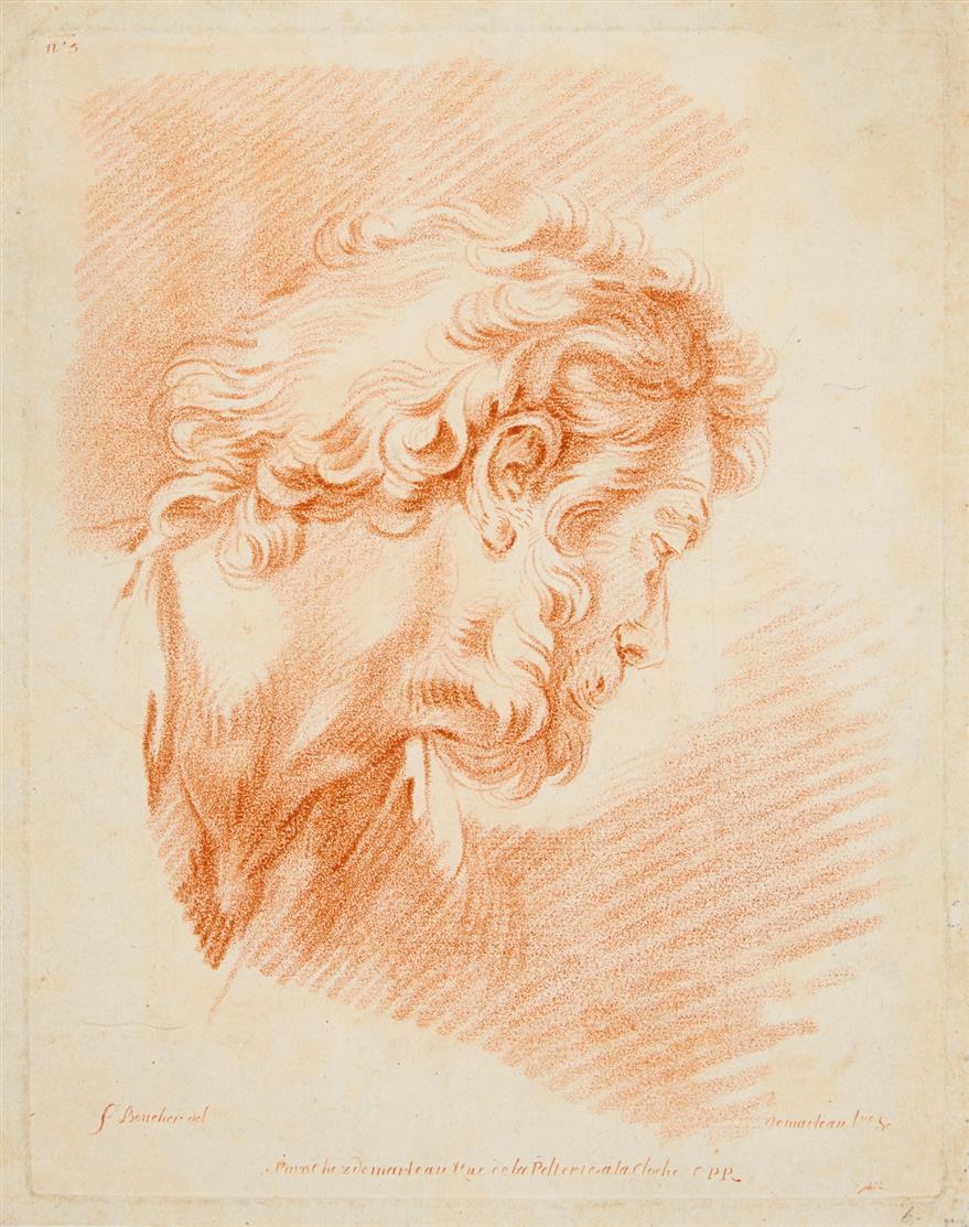 3 Blatt Rötelcrayon-Radierungen, nach F. Boucher, A. Dürer und F. Mazzola.