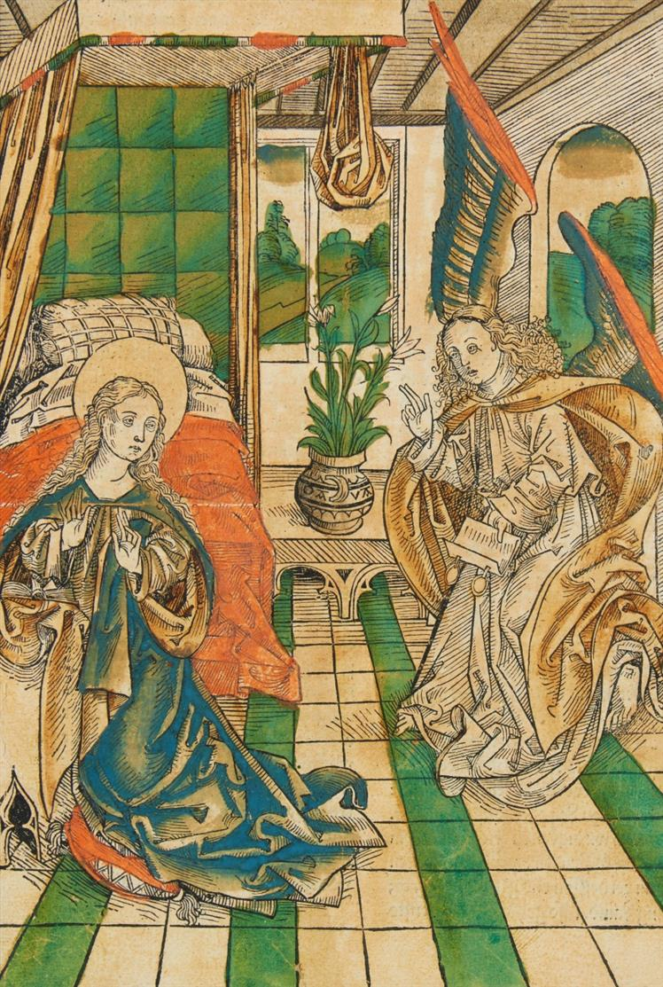 Maria Verkündigung. Kolor. Holzschnitt von Michael Wolgemut, aus Schatzbehalter, 1491.