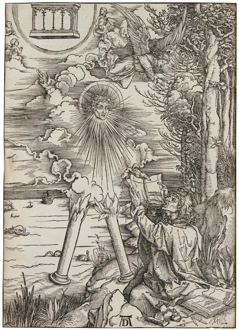Albrecht Dürer. Johannes, das Buch verschlingend. Holzschnitt aus der Apokalypse. Bartsch 70; Meder 172, lateinische Textausgabe 1511.