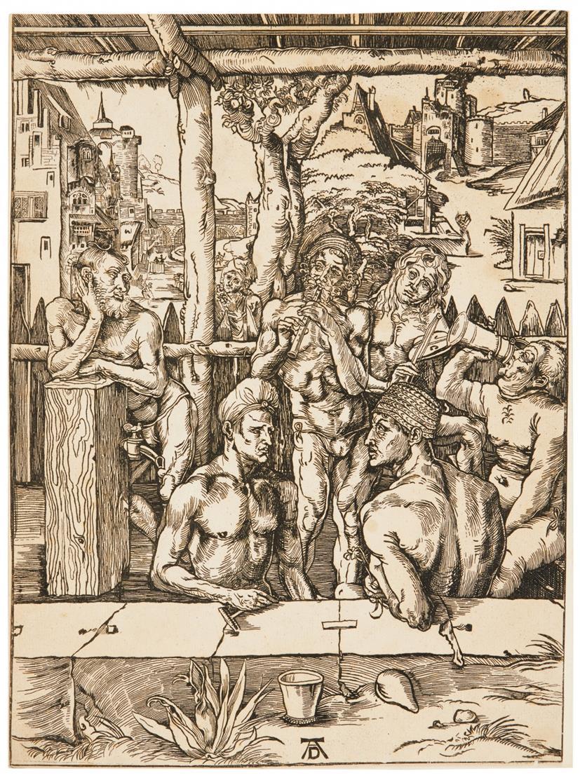 Albrecht Dürer, Kopie. Das Männerbad. Holzschnitt. Anonyme Kopie.