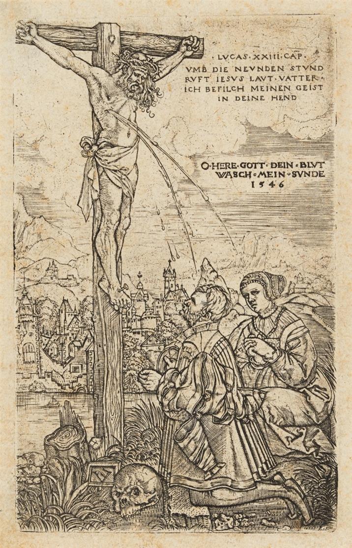 Monogrammist E. Christus am Kreuz, 1546. Kupferstich. Nagler Monogr. II, 1482.