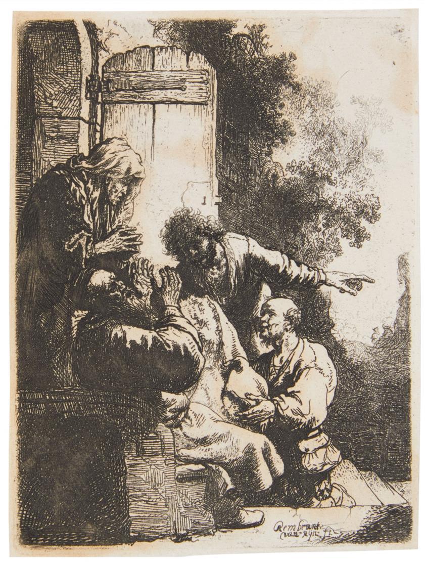 Rembrandt. Josephs Rock wird Jakob gebracht. Um 1633. Radierung. Bartsch 38; New Hollstein 122 II (von II).