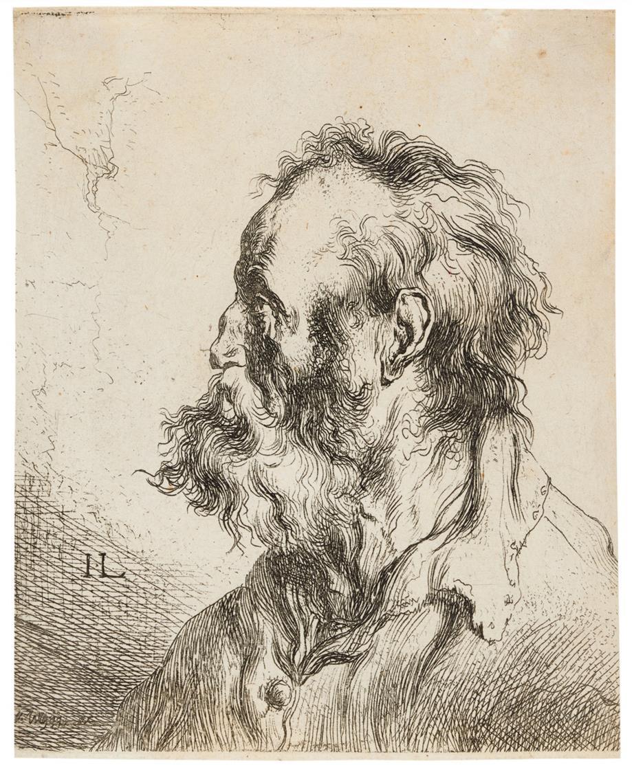Jan Lievens. Büste eines alten bärtigen Mannes. Radierung.  H. 40 III (v.V).