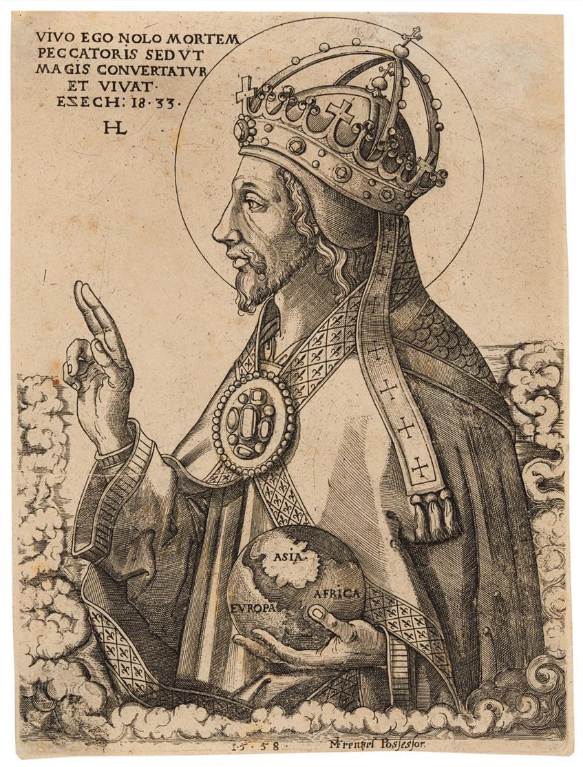 Hans Lange. Der Heiland mit der Weltkugel.1558. Kupferstich. B. 2; Nagler Monogr. III, 1202.2.
