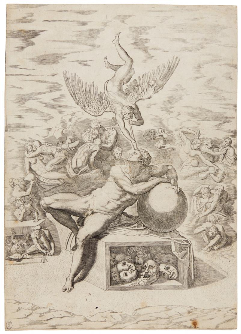 Michele Lucchese. Der Traum des Lebens. Kupferstich nach Michelangelo.