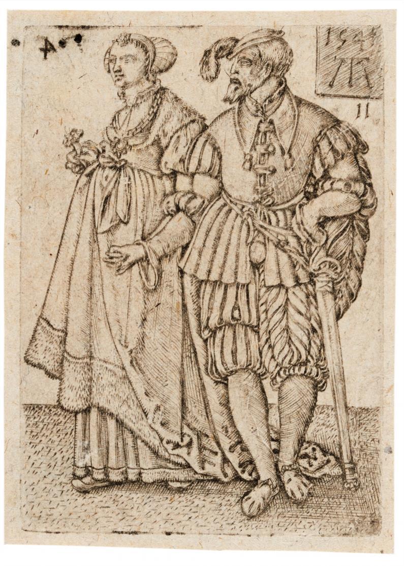 Monogrammist MT (Martin Treu?). Tanzendes vornehmes Paar. 1541. Kupferstich.