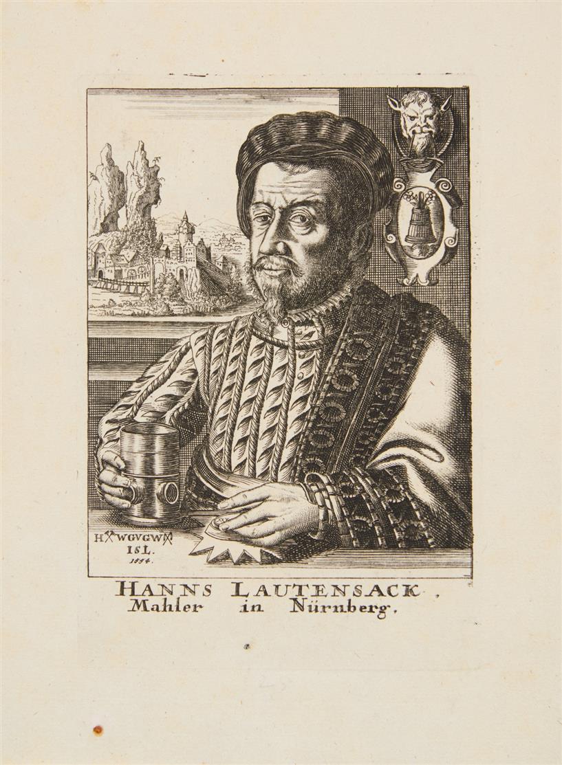 Hans Lautensack, nach. Hanns Lautensack, Mahler in Nürnberg.1554. Kupferstich.