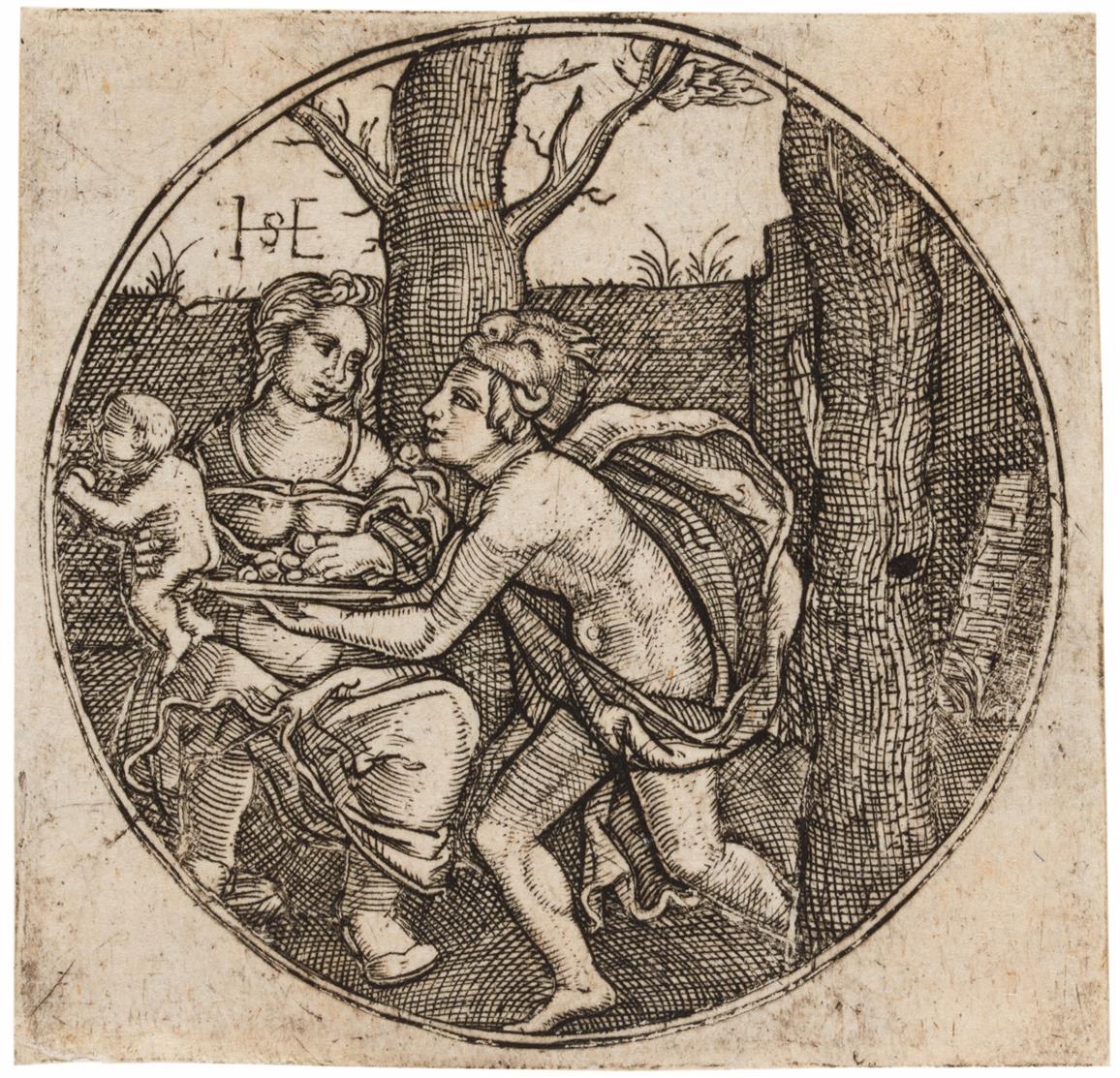 Monogrammist HSE. Das Weib mit dem Kinde, und ein Mann. Um 1570. Kupferstich.