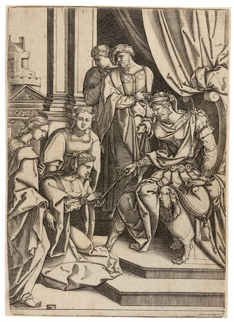 Monogrammist RR. Esther vor Ahasver. Kupferstich.