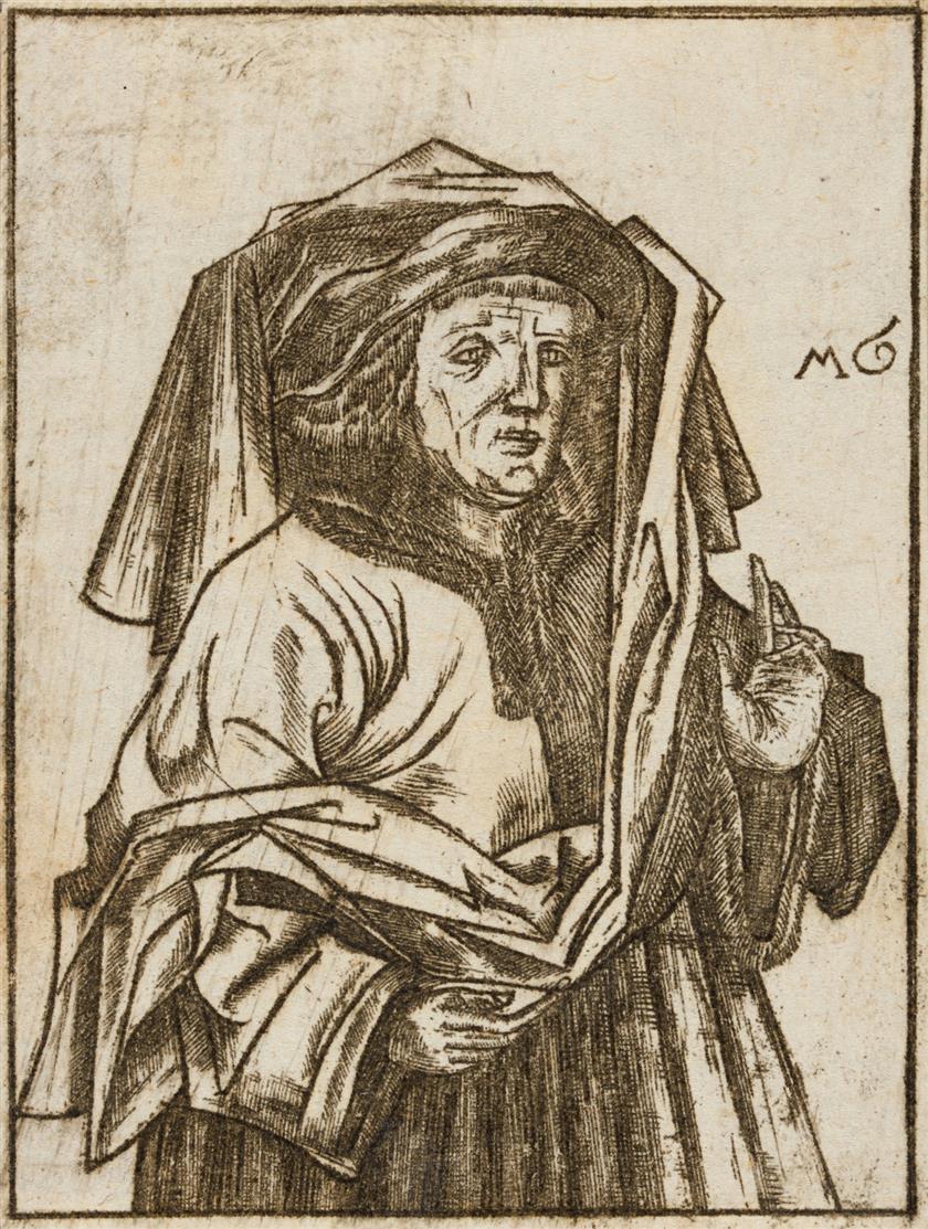Monogrammist MG. Mann mit erhobener Linken und Tuch über dem Kopf. Radierung.