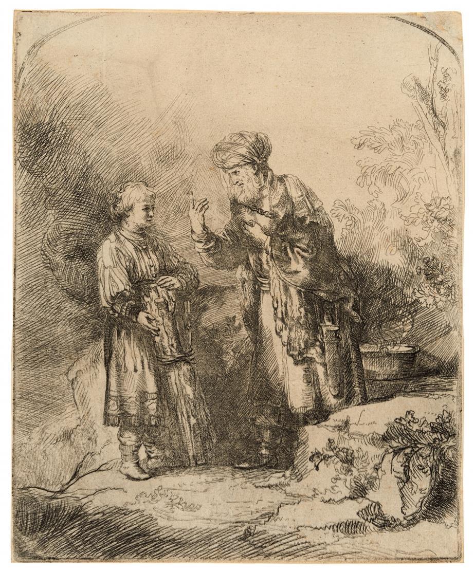 Rembrandt, Kopie nach. Abraham und Isaak. Radierung. Gegenseitige Kopie.